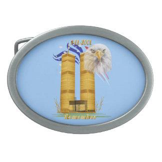 Gold Twin Towers, Eagle n Flag  Head Buckle Oval Belt Buckle