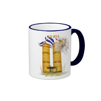 Gold Twin Towers, Eagle n Flag Mugs