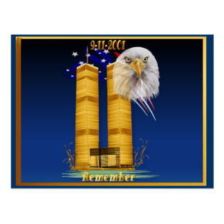 Gold Twin Towers, Eagle n Flag Postcards