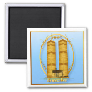 Gold Twin Towers lettered  Magnet