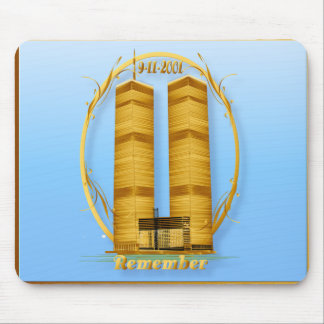 Gold Twin Towers lettered  Mousepad