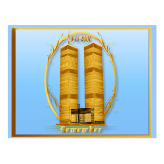 Gold Twin Towers lettered Postcards