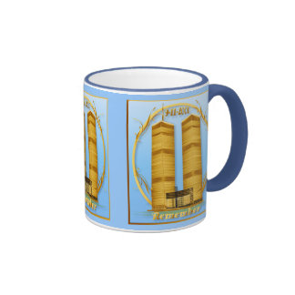 Gold Twin Towers Oval lettered Mugs