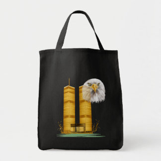 Gold Twin Towers OvalGold Twin Towers and Eagle Tote Bag