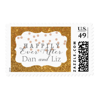 Gold Twinkle Lights Happily Ever After Stamp