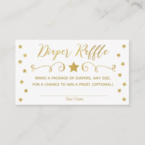 Gold Twinkle Little Star Baby Diaper Raffle Card