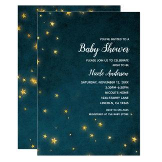 Gold Twinkle Stars Celestial Sky Baby Shower Card