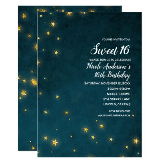 Gold Twinkle Stars Celestial Sky Sweet 16 Party Card
