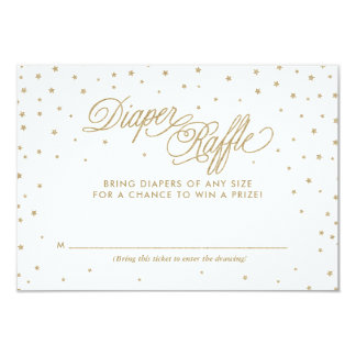 Gold Twinkle Stars Diaper Raffle Ticket Card