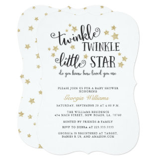 Gold Twinkle Twinkle Little Star Baby Shower Invitation