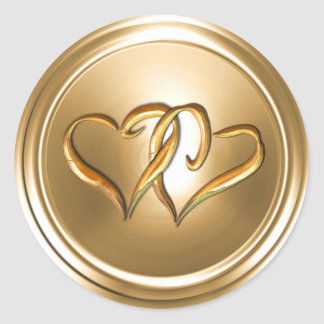 Gold Two Gold Hearts Envelope Seal Classic Round Sticker