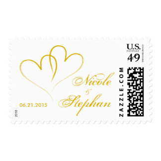 Gold Two hearts intertwined - Save The Date Postage