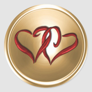 Gold Two Red Hearts Envelope Seal Classic Round Sticker