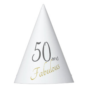 Gold Typography 50th Birthday 50 And Fabulous Party Hat