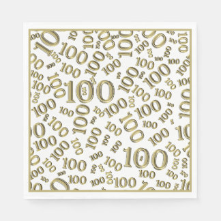 Gold Typography Any 100th Event Party/Celebration Napkin