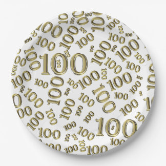 Gold Typography Any 100th Event Party/Celebration Paper Plate