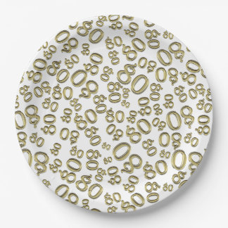 Gold Typography Any 80th Event Party/Celebration Paper Plate