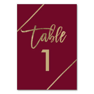 Gold typography burgundy marsala red table number
