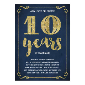 Gold Typography | Faux Foil 10th Anniversary Card