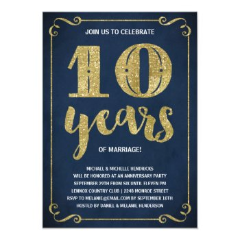 Gold Typography Faux Foil 10th Anniversary Invitation