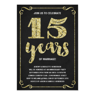 Gold Typography | Faux Foil 15th Anniversary Card