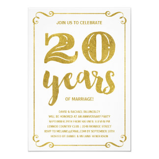 Gold Typography | Faux Foil 20th Anniversary Card