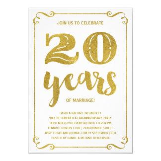 Gold Typography | Faux Foil 20th Anniversary Invitation