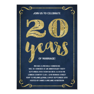 Gold Typography Faux Foil 20th Anniversary Invitation