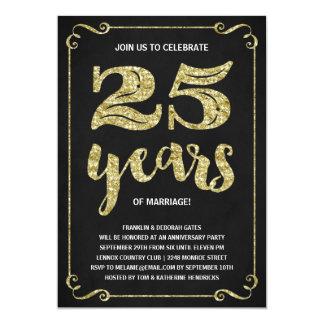 Gold Typography | Faux Foil 25th Anniversary Invitation
