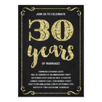 Gold Typography | Faux Foil 30th Anniversary Invitation