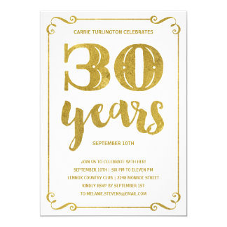 Gold Typography | Faux Foil 30th Birthday Party Card