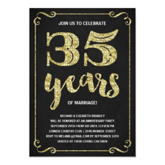 Gold Typography | Faux Foil 35th Anniversary Card