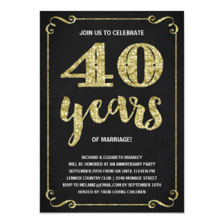 Gold Typography | Faux Foil 40th Anniversary 5x7 Paper Invitation Card