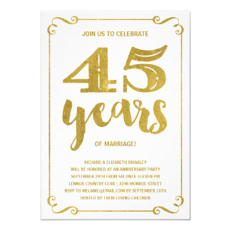 Gold Typography | Faux Foil 45th Anniversary Card