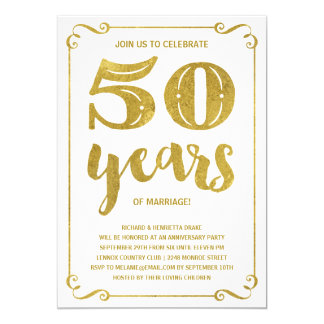Gold Typography | Faux Foil 50th Anniversary Card