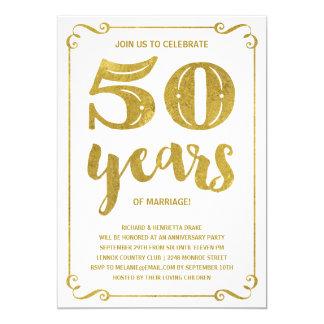 Gold Typography   Faux Foil 50th Anniversary Invitation