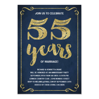 Gold Typography | Faux Foil 55th Anniversary Card
