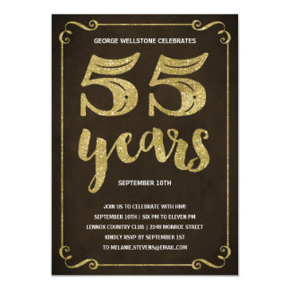 Gold Typography   Faux Foil 55th Birthday Party Card