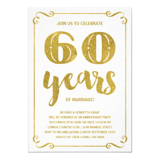 Gold Typography | Faux Foil 60th Anniversary Card