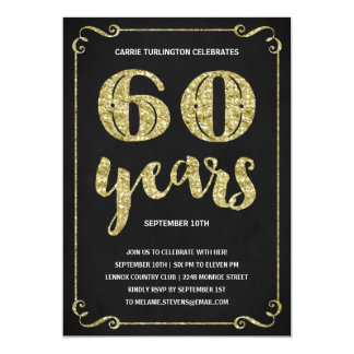 Gold Typography | Faux Foil 60th Birthday Party Card