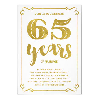 Gold Typography | Faux Foil 65th Anniversary Card