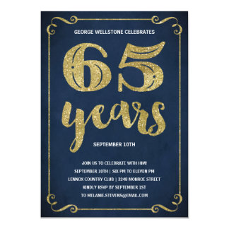 Gold Typography   Faux Foil 65th Birthday Party Card