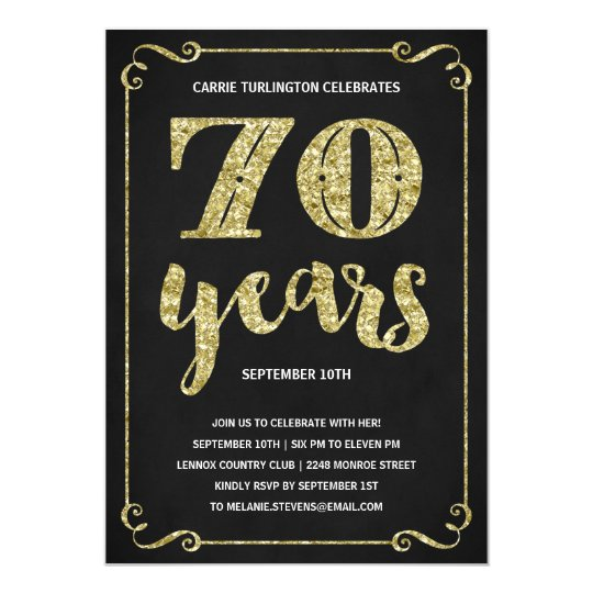 gold typography faux foil 70th birthday party invitation zazzle com