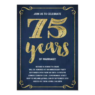 Gold Typography | Faux Foil 75th Anniversary Card