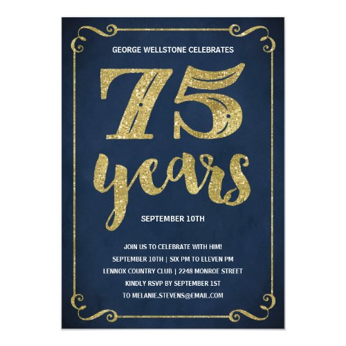 75th birthday invitations 50 gorgeous 75th party invites personalized 75th birthday party invite gold typography with faux foil 75th birthday party card stopboris Image collections
