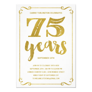 Gold Typography | Faux Foil 75th Birthday Party Card