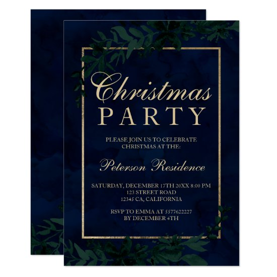 Gold typography Floral navy blue leaf Christmas Invitation