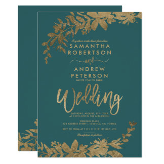 Gold typography leaf floral green teal wedding invitation