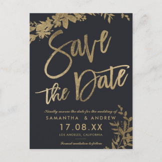 Gold typography leaf floral grey save the date announcement postcard