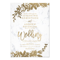 Gold typography leaf floral white marble wedding invitation